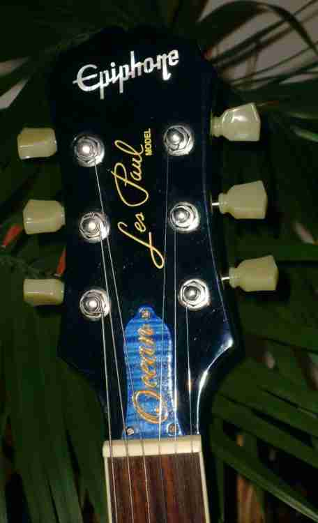 Blue stained and gold filled TRC for Les Paul