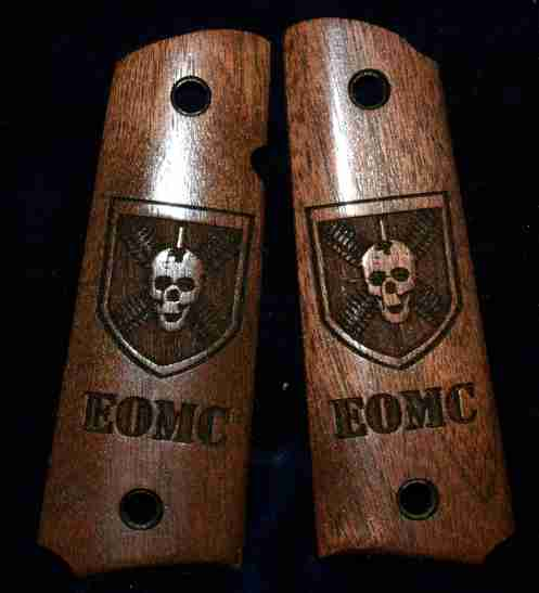 Walnut 1911 grips with skull shield engraving