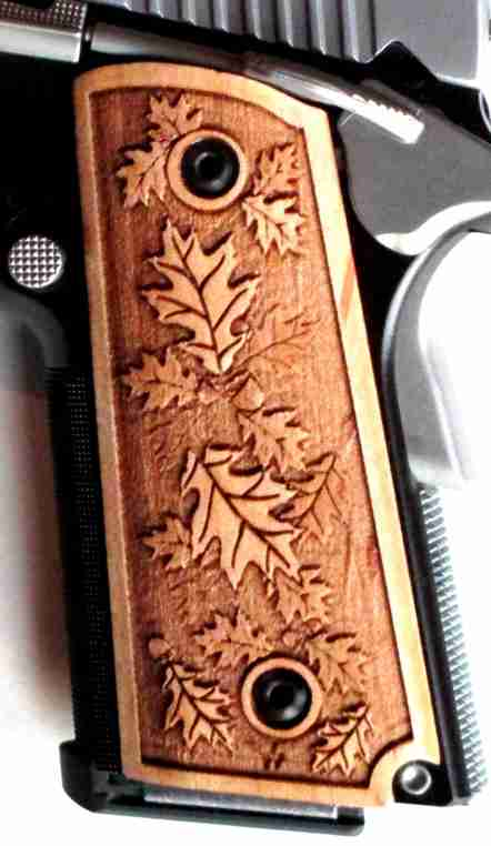 1911 grips with leaf relief engraving