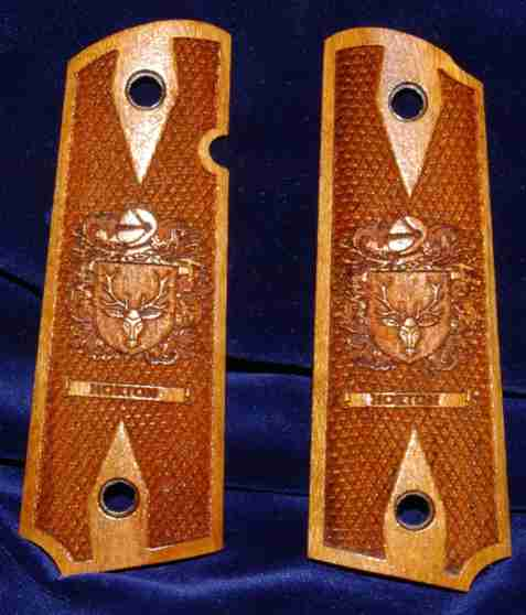 High detailed family crest engraved grips with scroll banner