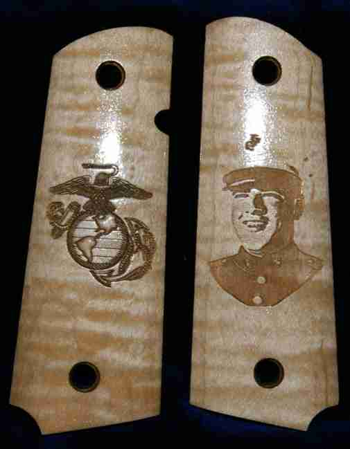 USMC flame maple 1911 grips with photo