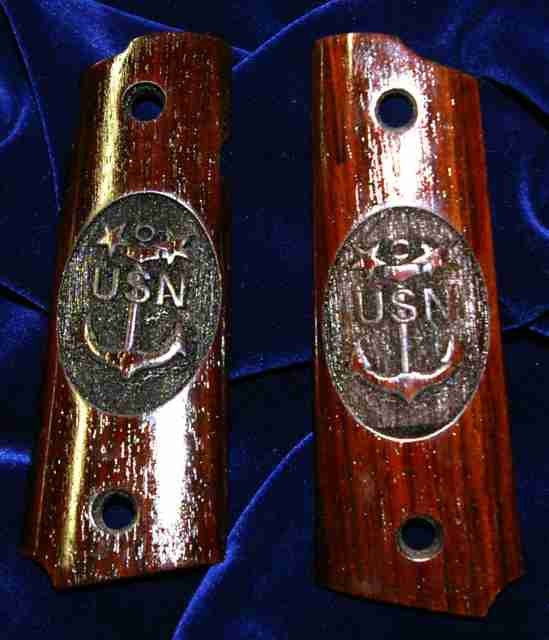 USN anchor graphic engraved grips in circular outline