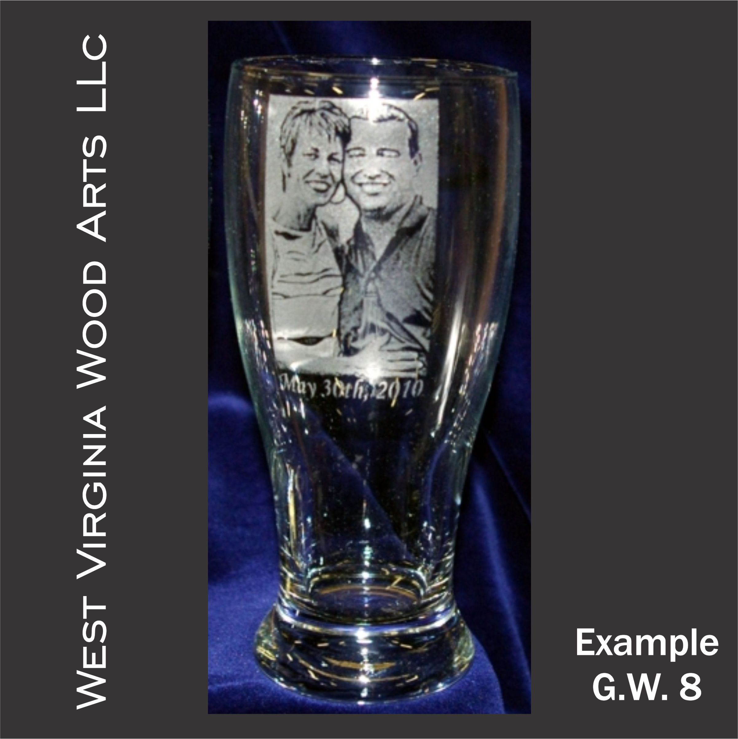 Personalized glassware main example with photo engraving