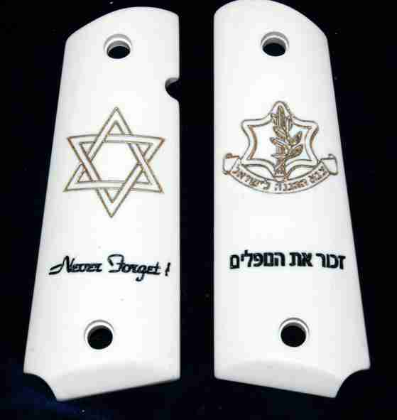 Personalized Imitation Ivory Grips With Gold Filled Graphics And Black Wording