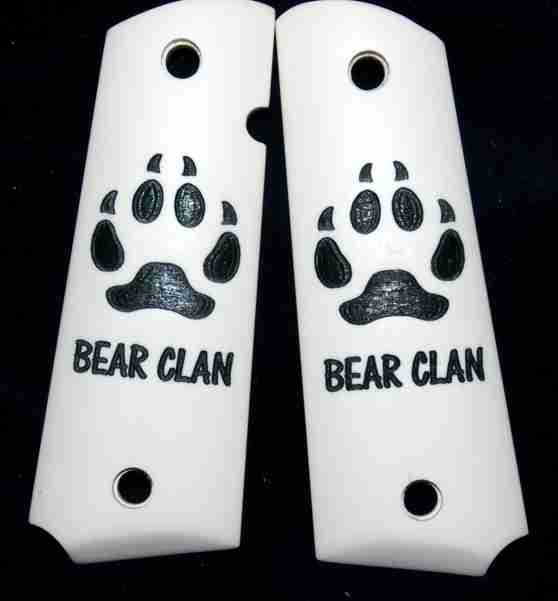Custom Ivory Pistol Grips With Bear Claw Etching And Black Fill