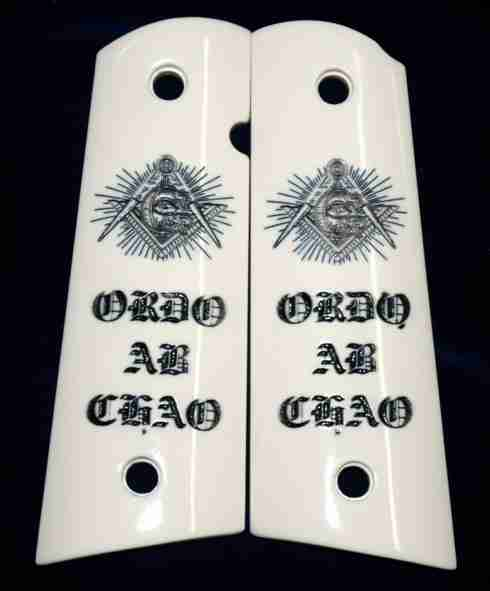 Masonic Eye Custom 1911 Grips In Imitation Ivory With Wording