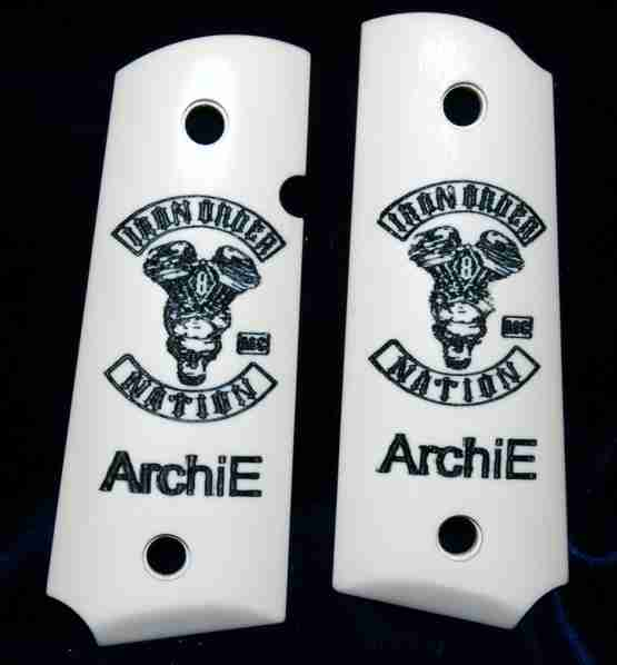 Motorcycle Club Graphic Engraved On 1911 Imitation Ivory Grips