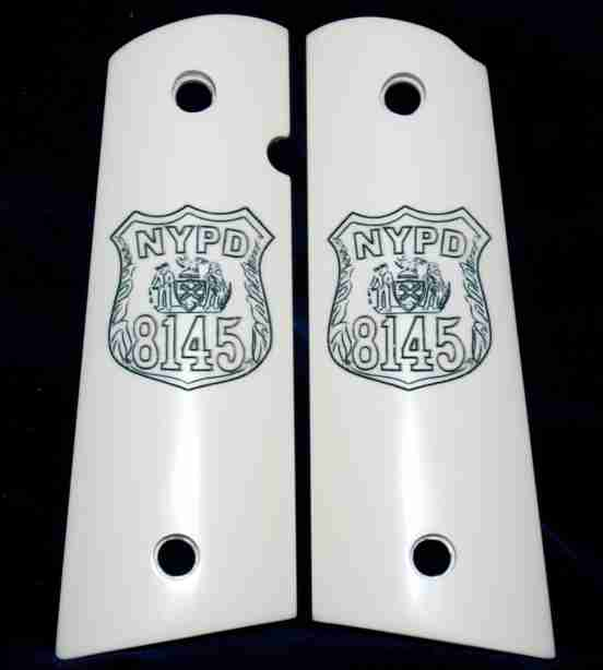 Badge Graphic Engraved On Imitation Ivory Grips