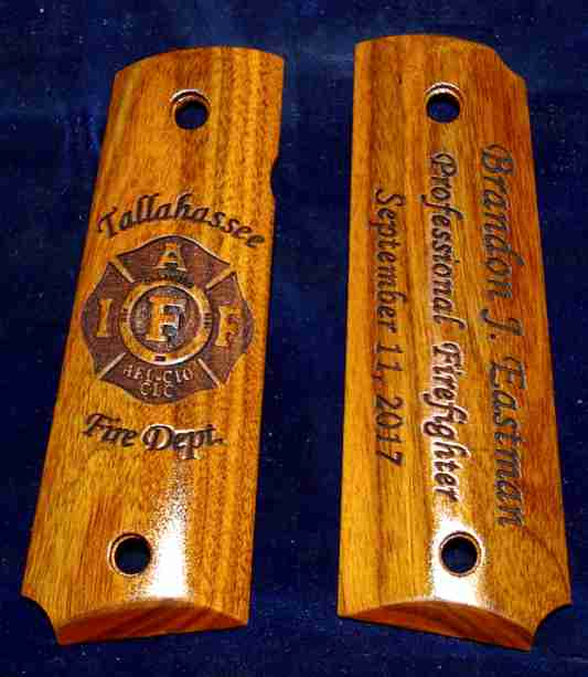 1911 Rosewood Grips W/ Fire Dept. Graphic Engraving