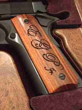 Satin Finished Rosewood Grips With Initial Engraving