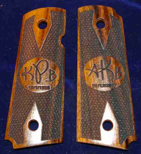 Raised Oval Graphic With Custom Initial Engraving On 1911 Rosewood Grips