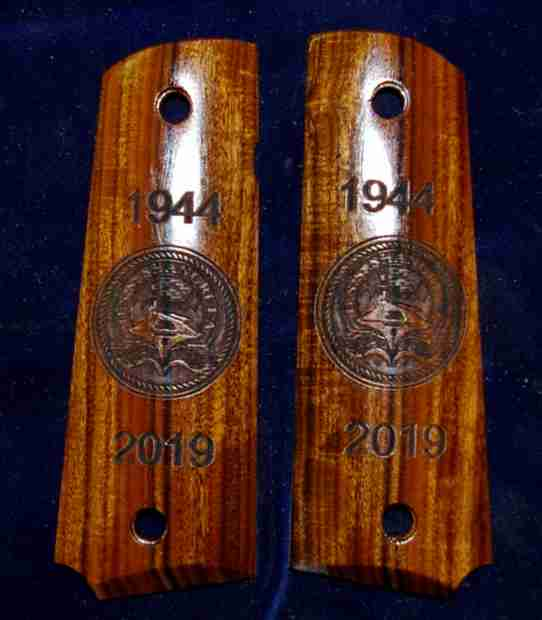 1911 Rosewood Grips Engraved With Aircraft Carrier And Rope Graphic