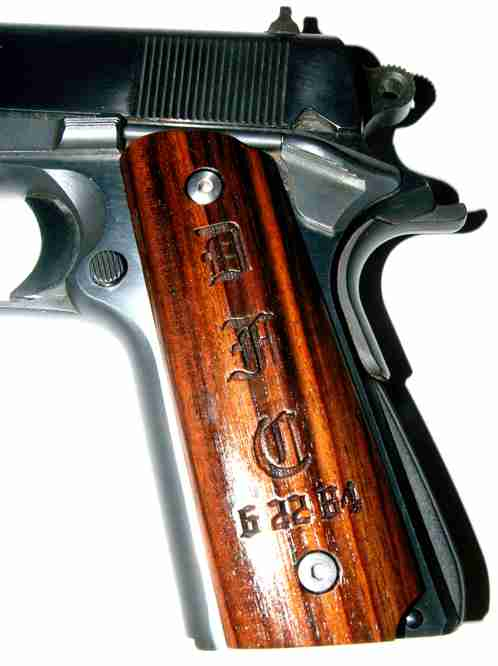 Mounted Rosewood Full Size Grips With Initials And Date