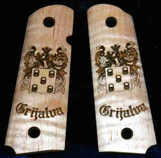 Family Crest Custom Pistol Grips With Name Underneath