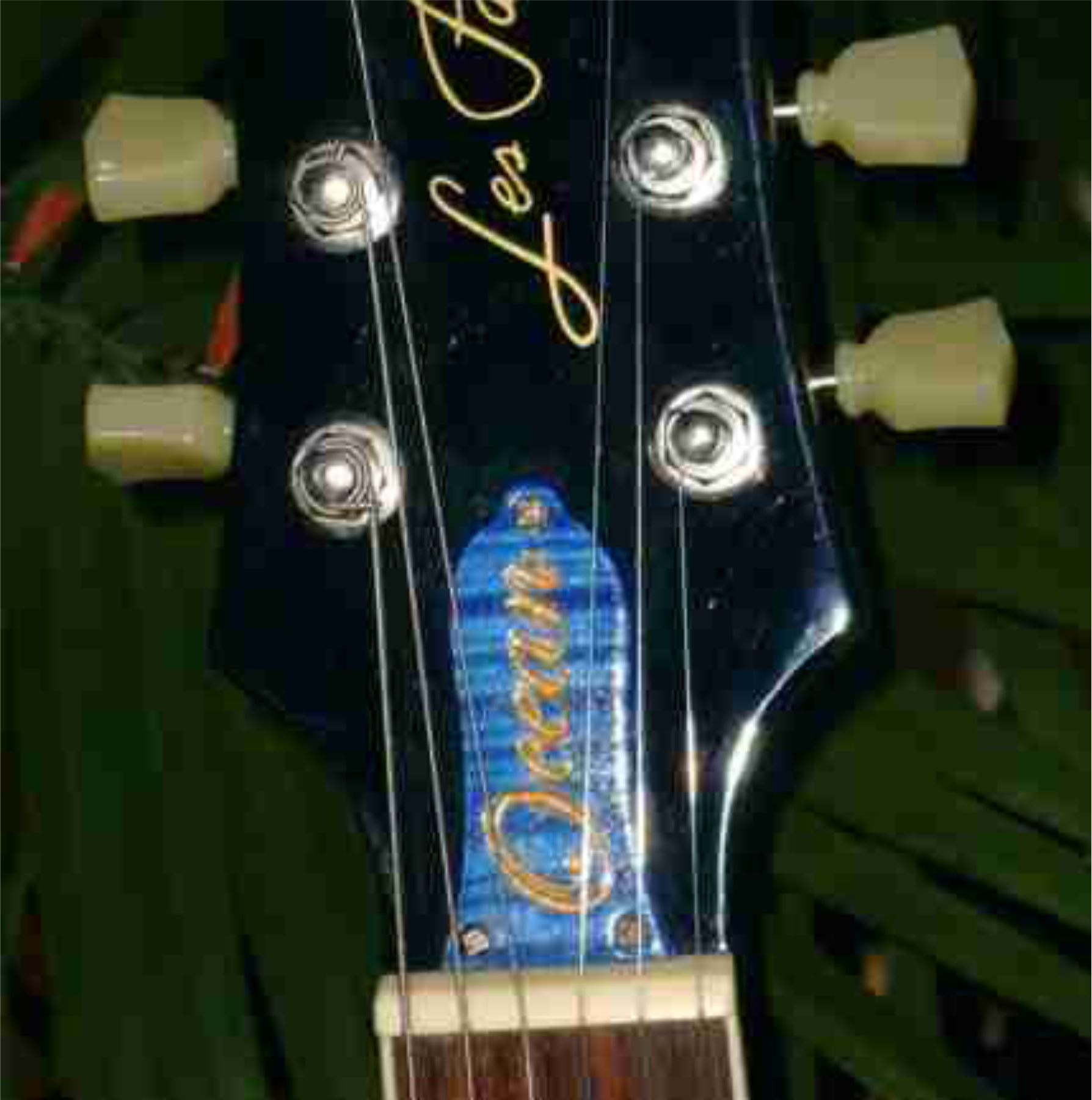 Blue Stained With Gold Filled TRC For Les Paul
