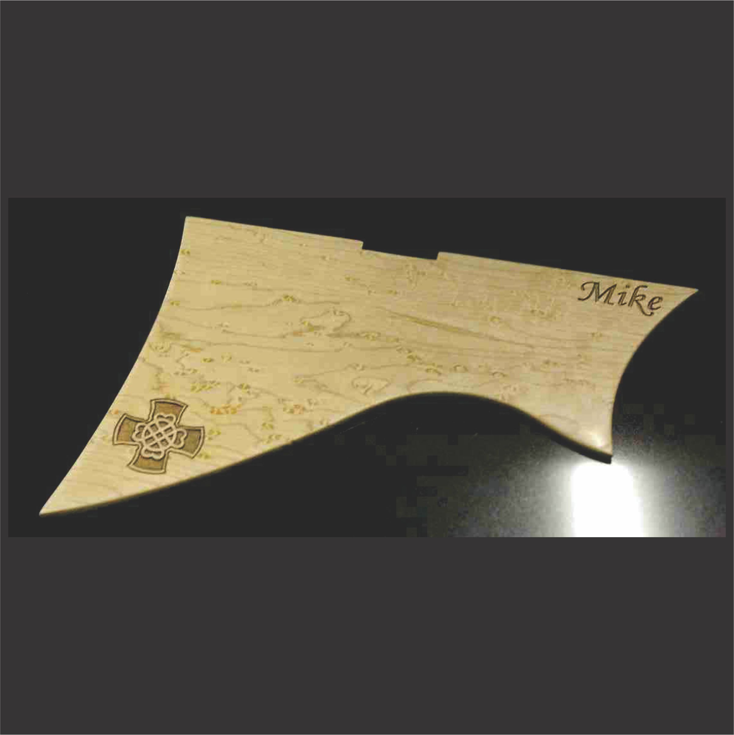 Custom Cut Birdseye Maple Pickguard With Celtic Knot Engraving
