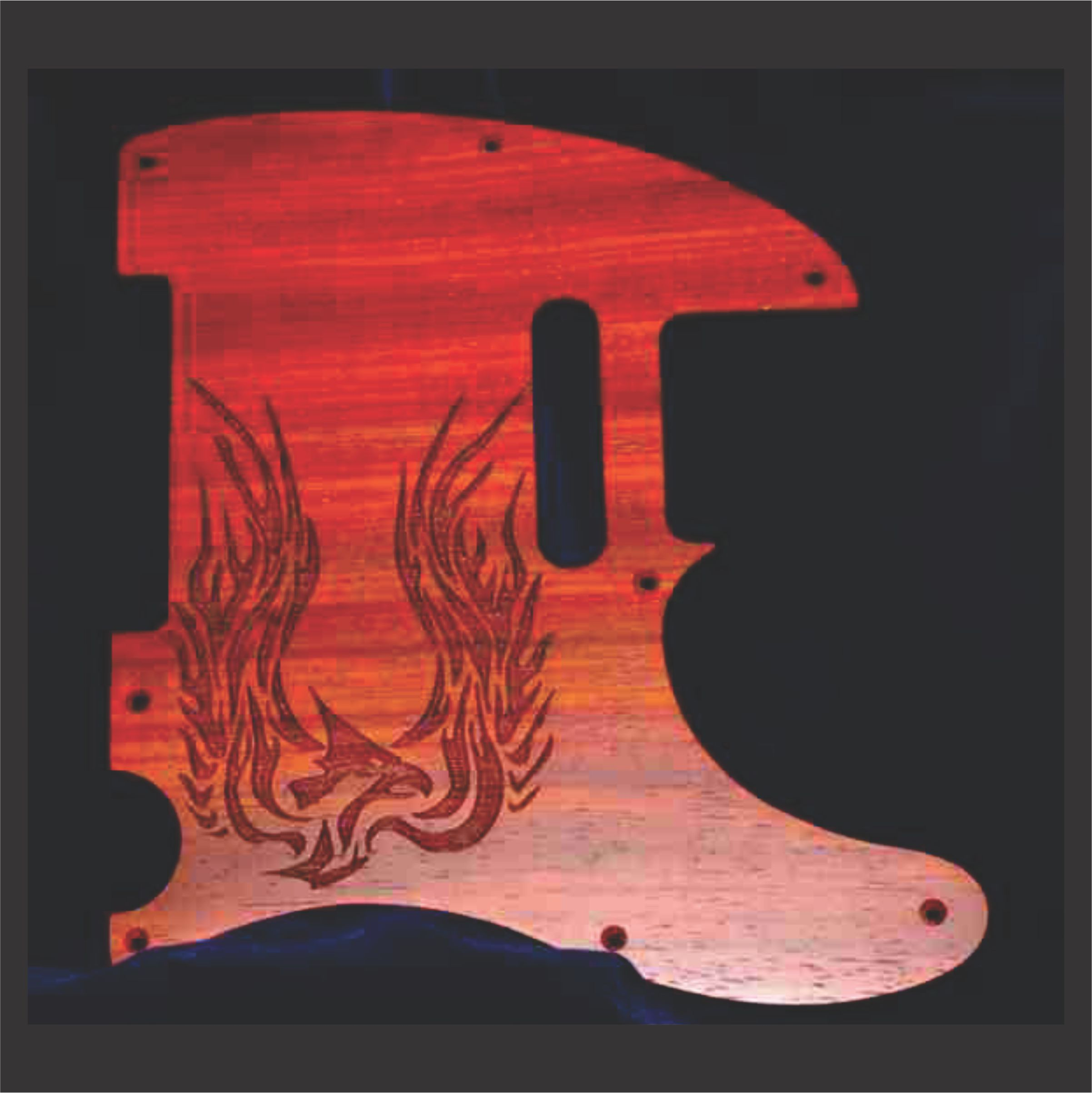 Custom Flame Graphic Engraved On Telecaster Style Pickguard
