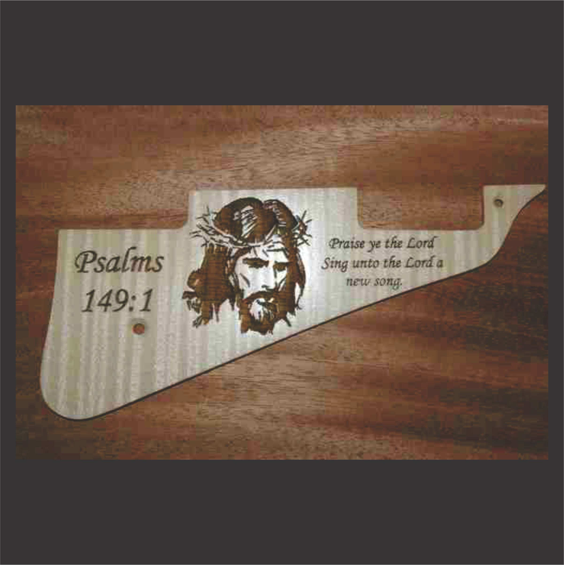 Flame Maple Pickguard With Jesus Graphic Centered