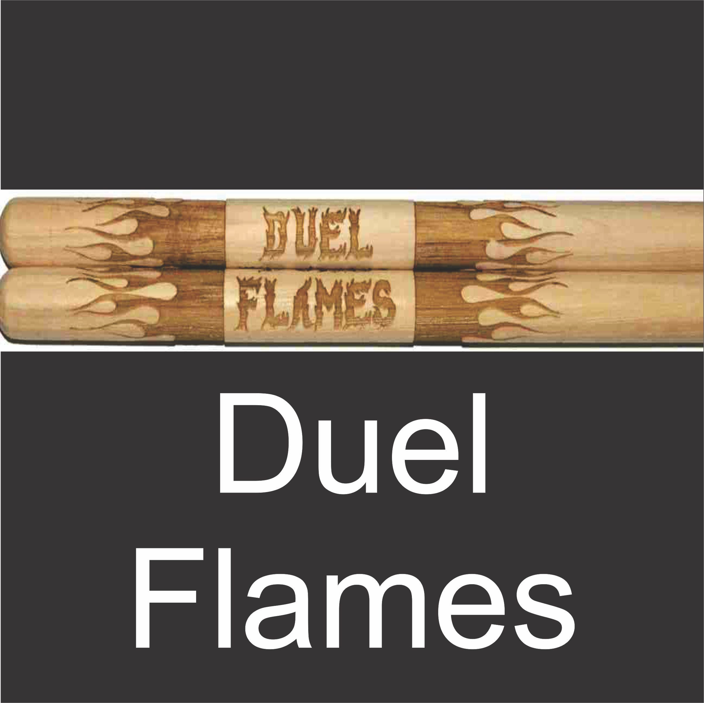 personalized drumstick set with wrapping flame design