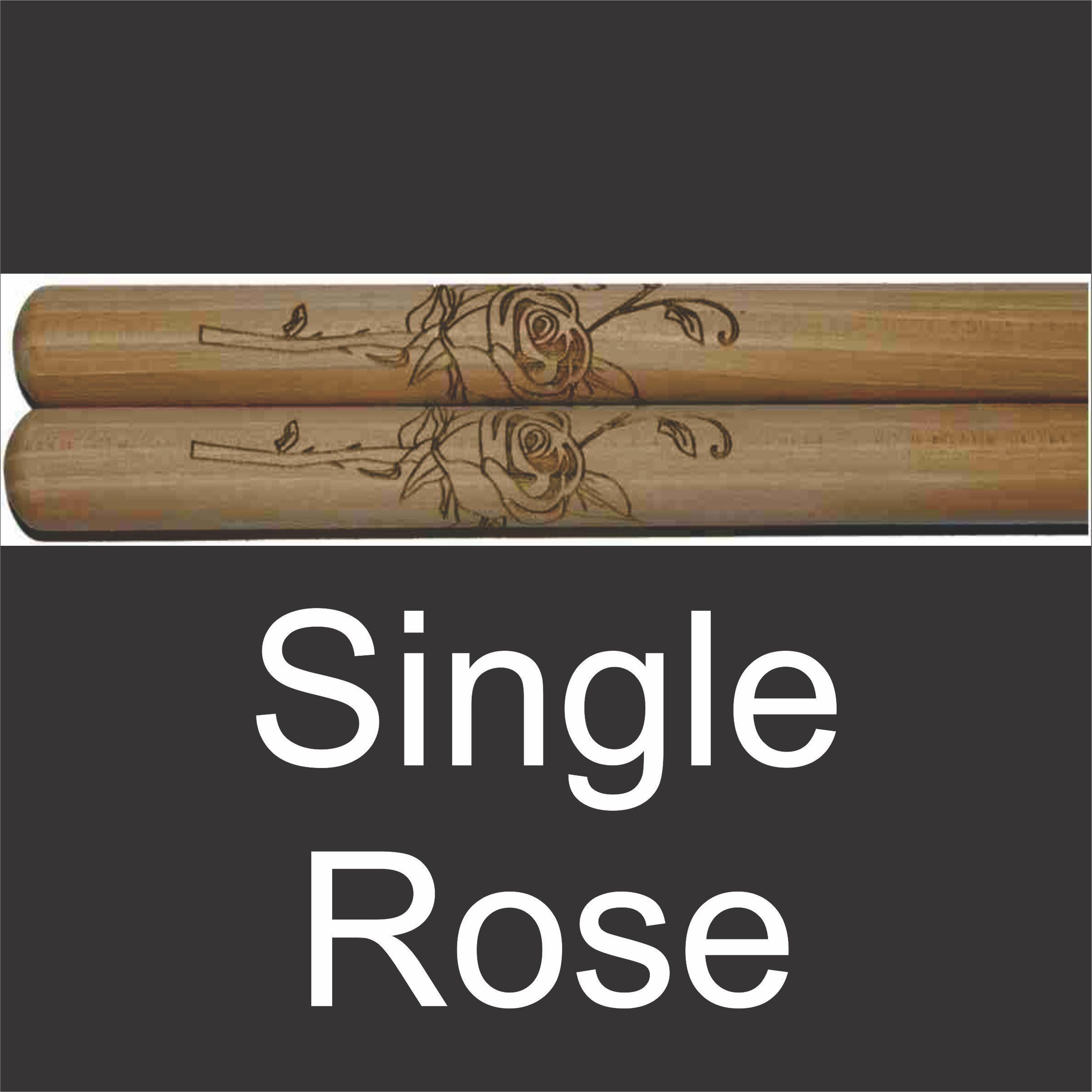 predesigned drumsticks with rose graphic engraving