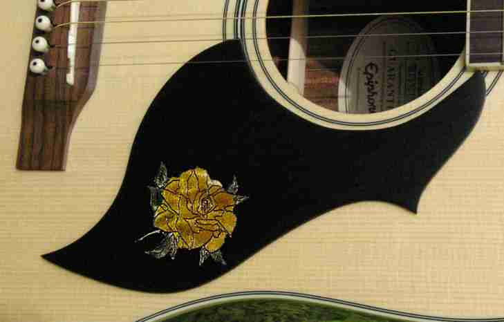 Ebony accoustic pickguard with stained custom rose inlay
